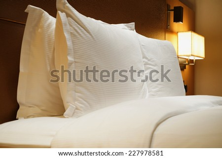Image of comfortable pillows and bed
