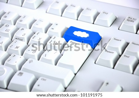 Image of computer keyboard with clous symbol on it - stock photo