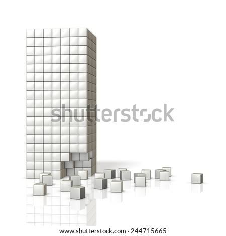 Image of concrete block of collapse to the building. - stock photo