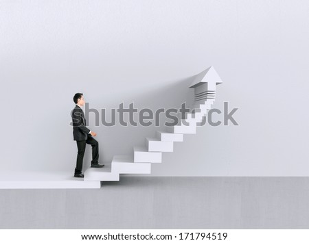 Image of confident businessman walking upstairs chart - stock photo