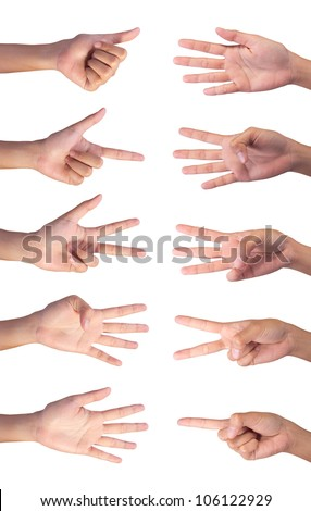 Image of Counting woman's right  hands finger number (1 to 10 ) isolated on white background - stock photo