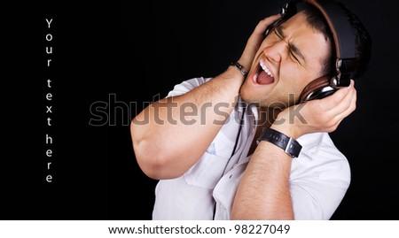 Image of crazy DJ - stock photo