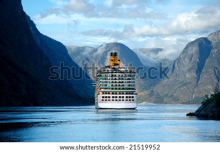 image of cruise ship on fjord in Norway - stock photo