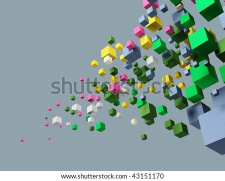 Image of cubes. Gray background. - stock photo