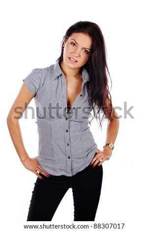 Image of cute brunette woman, isolated on white