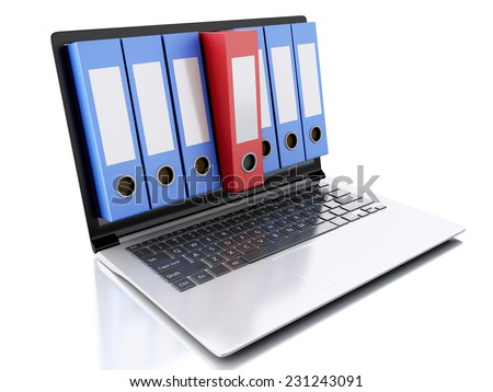 image of 3d Archive concept. Laptop and files on isolated white background - stock photo