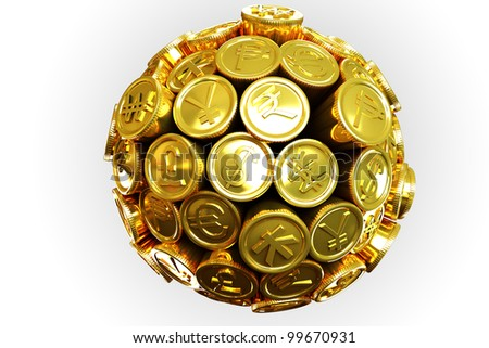 image of 3d gold coin of different currency around sphere - stock photo
