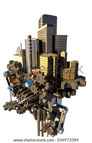 image of 3d render of high tech city scape with skyscraper on gear - stock photo