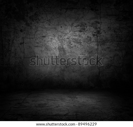 Image of dark concrete wall and floor - stock photo