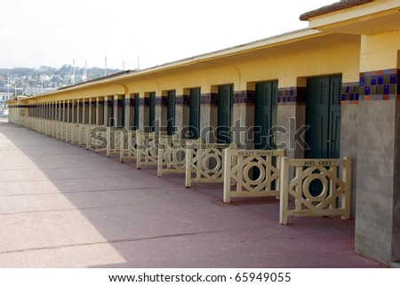 Image of Deauville famous sea walk. - stock photo