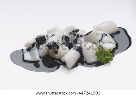 Image of delicious preparation of squid in its ink to apply to packaging design