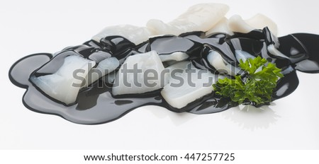 Image of delicious preparation of squid in its ink to apply to packaging design - stock photo