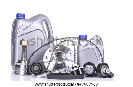 image of Different car parts isolated on white - stock photo