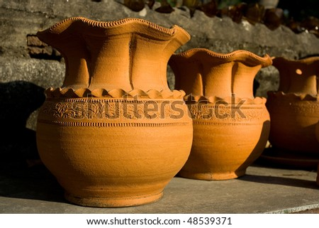 Image of different design of pottery. - stock photo