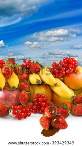 image of different fruits against the sky closeup