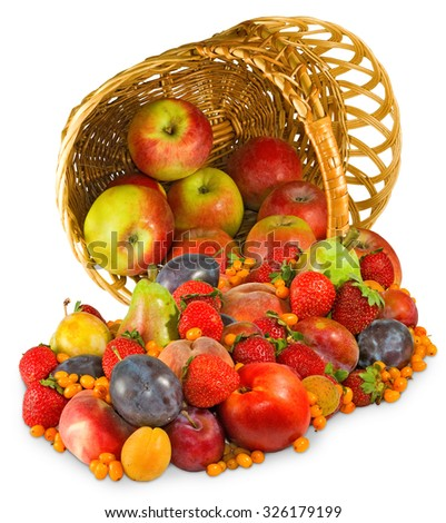 image of different fruits in a basket closeup - stock photo