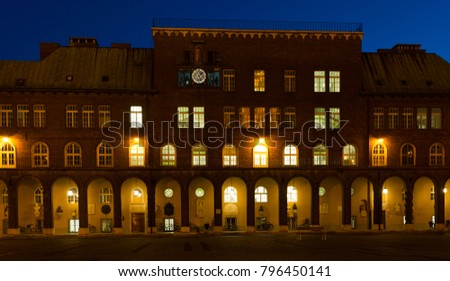 Image of Dom ter in light of hungarian city Szeged outdoors.