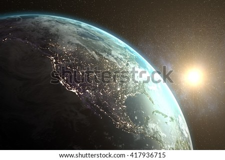 Image of earth on the space