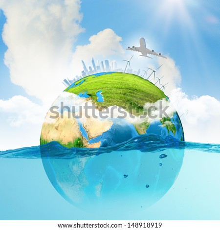 Image of earth planet floating in water. Global warming. Elements of this image are furnished by NASA - stock photo