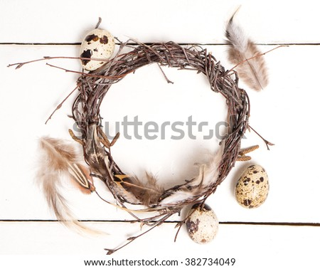 image of easter preparation on white wooden background