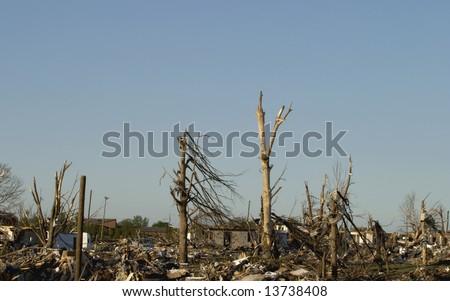 Image of EF 5 tornado damage in Parkersburg Iowa May 25 2008. - stock photo