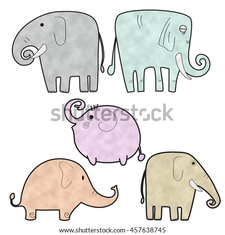 Image of elephant cartoon use as background, wallpaper, card, etc.