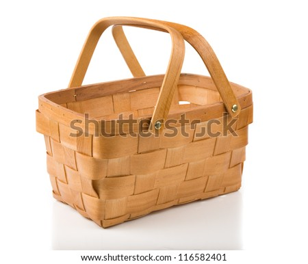 Image of empty basket isolated on white - stock photo