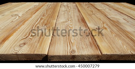 Image of empty bumpy wooden table top closeup - stock photo