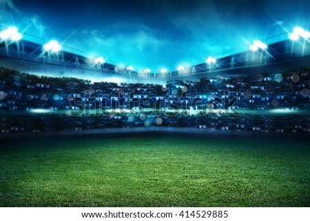 Image of empty football stadium background. You can put your design - stock photo