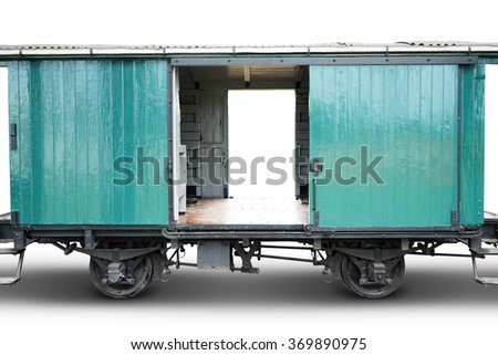 Image of empty old train cargo with green color, isolated on white background - stock photo