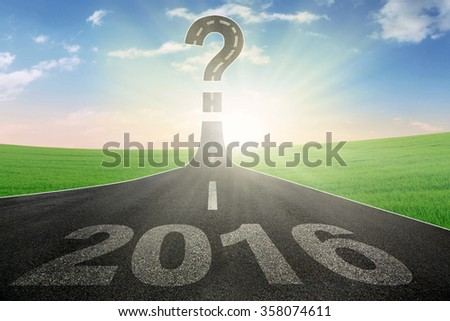Image of empty road with question mark sign and numbers 2016 - stock photo