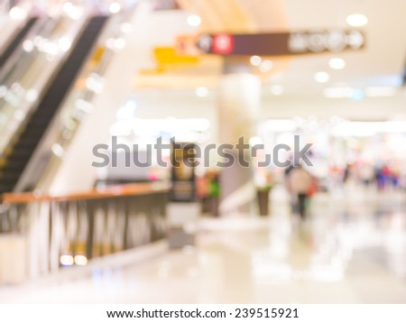 image of  escalators at the modern shopping mall. - stock photo