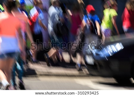 Image of fast speed of life in the big city - stock photo