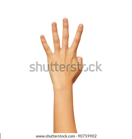 Image of female hand showing four fingers on a white background - stock photo