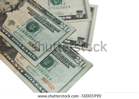 Image of fifty US Dollars in twenties and fives. - stock photo