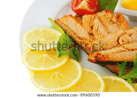 image of fillet salmon on white plate