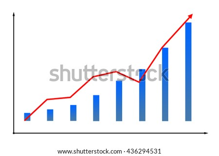 Image of financial diagram icon on chart with red grown arrow and bar isolated on white background