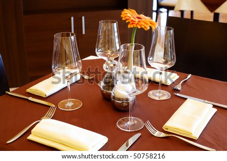Image of fine table setting in restaurant - stock photo