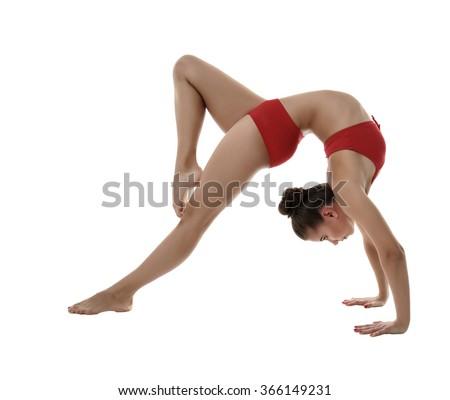 Image of flexible girl doing gymnastic pose - stock photo
