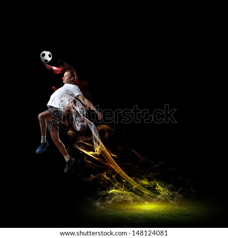 Image of football player in white shirt - stock photo