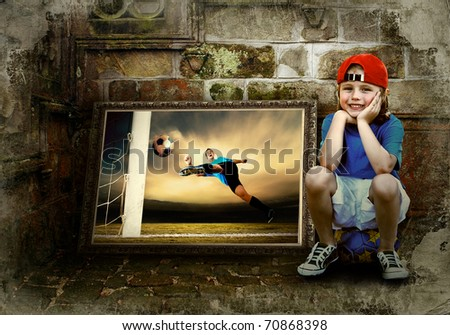 image of football player on the grunge background - stock photo