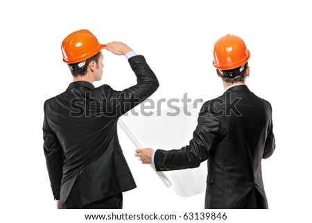 Image of foremen interacting together at meeting isolated on white background - stock photo