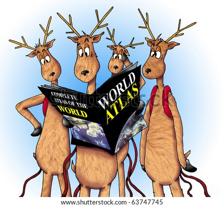 Image of four lost reindeer.