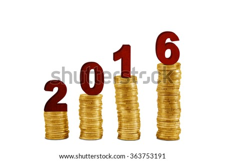 Image of four pile golden coins with numbers 2016 in the studio, isolated on white background - stock photo
