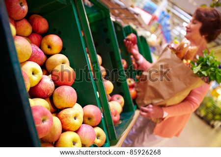 Image of fresh apples in supermarket - stock photo