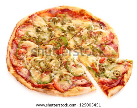 Image of fresh italian pizza isolated over white background - stock photo