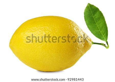 image of fresh lemon with leaf isolated on white background - stock photo
