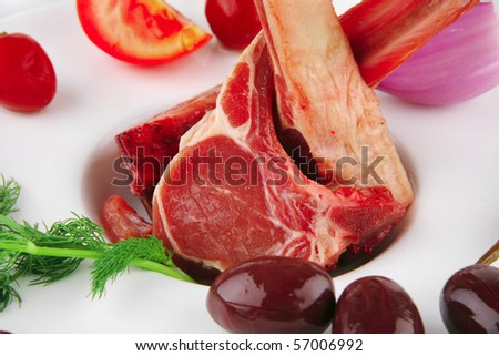 image of fresh veal ribs on white - stock photo