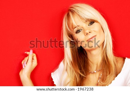 image of friendly blond over red background - stock photo
