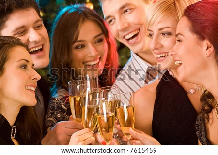 Image of friends having  fun together at a party - stock photo